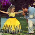 Yellow Ball Gown Flower Girl Dresses With Lace Edge Christmas Scoop Sleeveless evening First communion Dresses