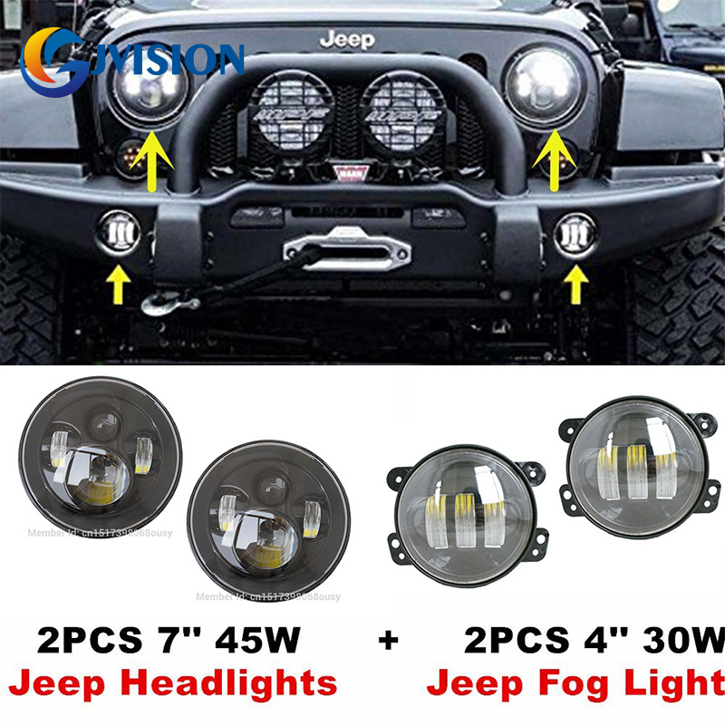 Black 7'' LED Headlight H4 Hi/Low Auto headlight + 4 inch led fog lights projector Driving light DRL for Jeep Wrangler JK gztophid wiring harness extension h4 9003 hb2 light connector male to female for socket headlight fog light drl light