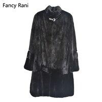 Черная шуба из натурального меха норки воротник мандарина Толстая теплая зимняя одежда из натурального меха полный мех X long куртка женская
