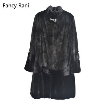 Black Real Mink Fur Coat Mandarin Collar Thick Warm Genuine Fur Winter Clothes Full Pelt Natural Fur X-Long Jacket Women Clothes
