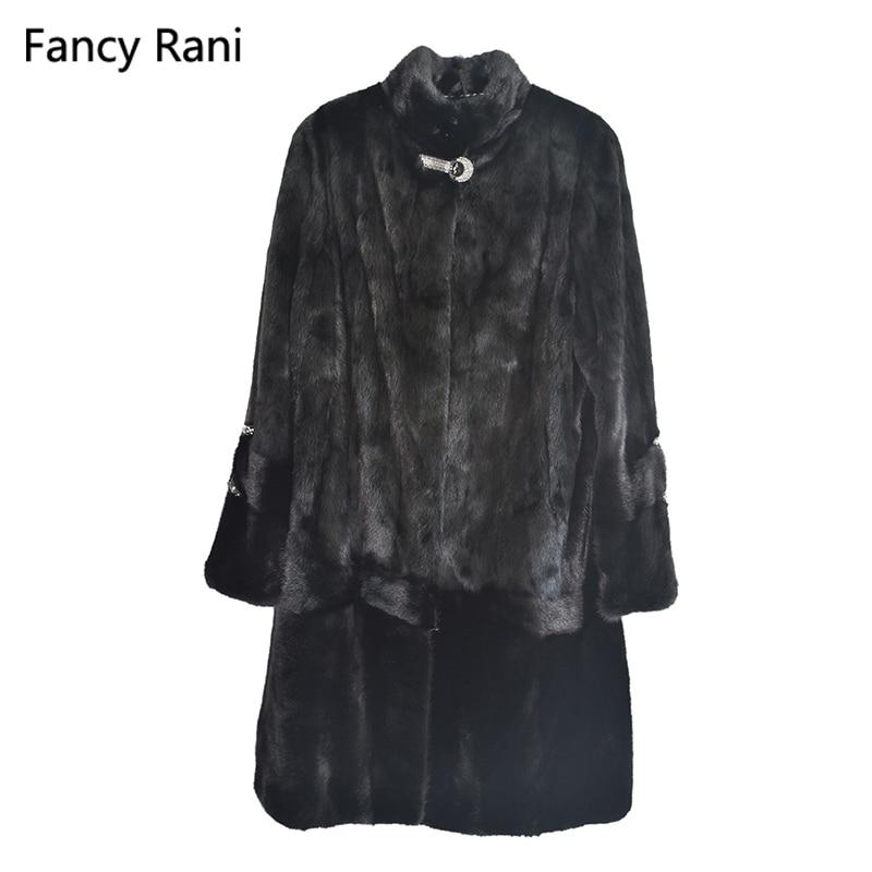 Mandarin De Vêtements long Chaud Véritable Fourrure Vison X Noir Naturelle Veste Pleine Épais Réel D'hiver Pelt Manteau Femmes Col xX5fqwFwRn