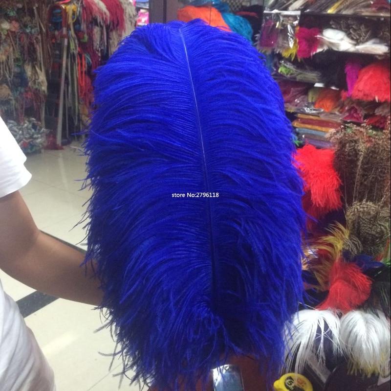 Wholesale natural ostrich feather hard pole 50pcs / sapphire ostrich feathers 65-70 cm / 26-28