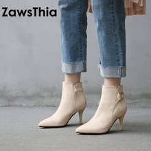 ZawsThia 2020 winter new woman shoes comfortable high heels ladies stilettos women ankle boots sexy high heel boots big size 44