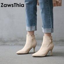 Zawsthia 2020 冬の新女性の靴快適なハイヒールの女性のハイヒールの女性のアンクルブーツセクシーなハイヒールブーツビッグサイズ 44