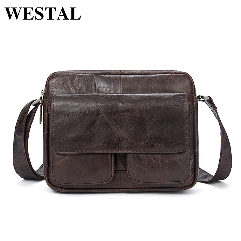 WESTAL Genuine Leather Bag cowhide Men Bags male Shoulder Crossbody Bags Messenger Flap Casual Handbags men Leather Bag 8931