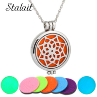 316L Stainless Steel Necklace 35MM Aromatherapy Essential Oils Diffuser Necklace Glow In the Dark Jewelry