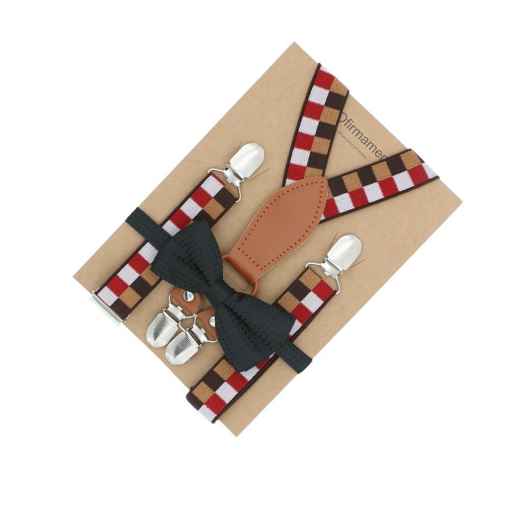 Long Heart Brown Leather Cutie Teen Kids Grid Key Pattern Suspender Bow Tie Set Page Boy Wear Antique Decoration Wedding