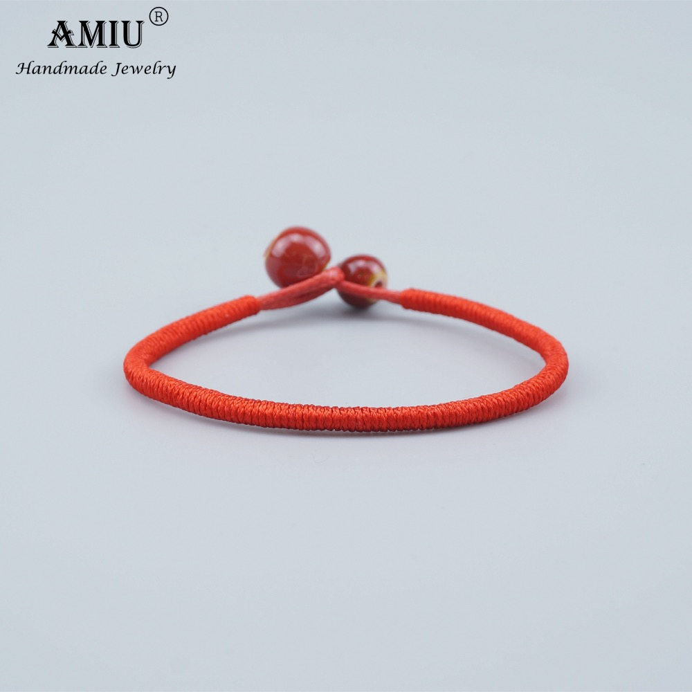 AMIU Tibetan Buddhist Lucky Charm Ceramic Bead Bracelets & Bangles For Women Men Handmade Knots Rope Christmas Gift Bracelet