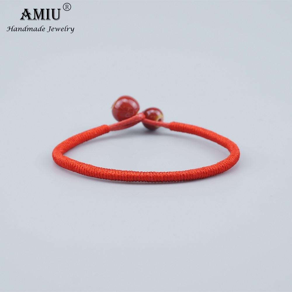 AMIU Tibetan Buddhist Lucky Charm Ceramic Bead Bracelets & Bangles For Women Men Handmade Knots Rope Christmas Gift Bracelet