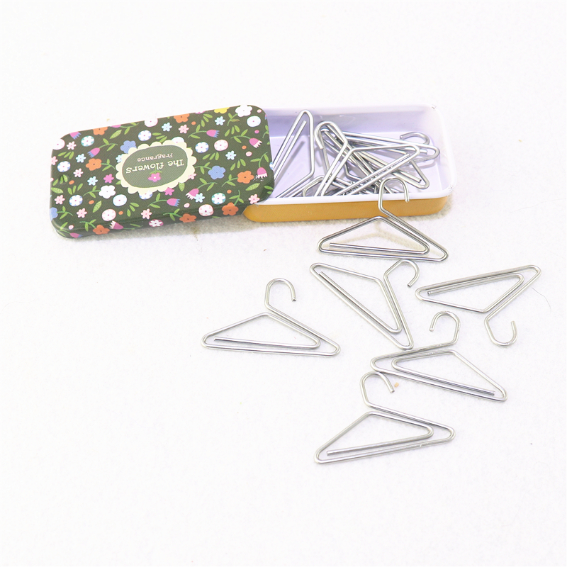 12pcs/lot hanger Shape Paper Clips Creative Interesting Bookmark Clip Memo Clip Shaped Paper Clips for Office School Home H0069