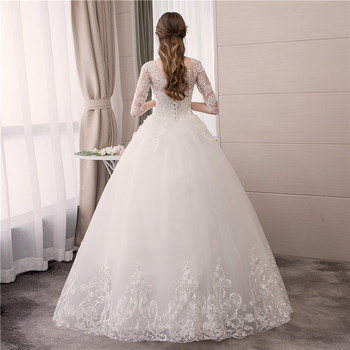 Do Dower O Neck Half Sleeve Wedding Dress Fashion Slim Lace Embroidery Lace Up Plus Size Custom Made Wedding Gown Robe De Mariee 5