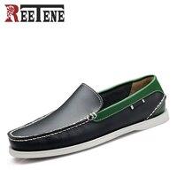 Yeni Moda Tekne Ayakkabı Erkekler Gerçek Deri Loafers Nefes Sürüş Ayakkabı Erkekler Üzerinde Kayma Yumuşak Moccasins Rahat Rahat Ayakkabı
