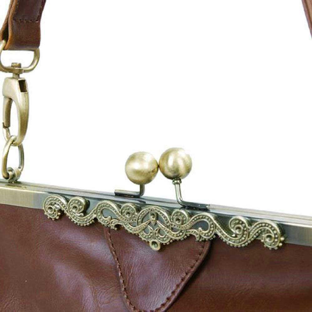Ретро Винтаж Kiss Lock искусственная кожа Сумка Сумочка сумка-портфель-темно-коричневый