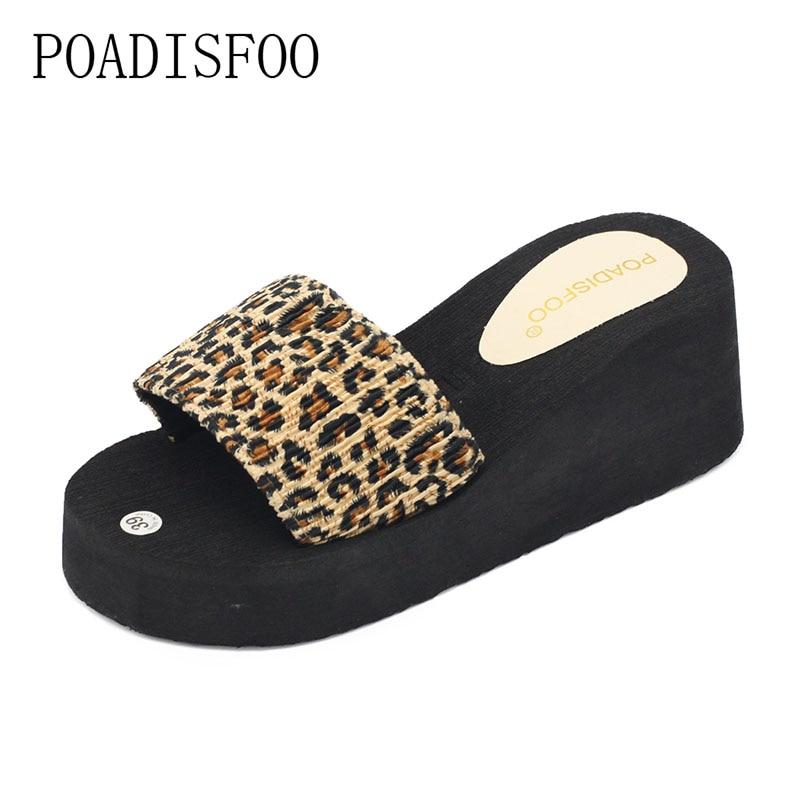 2017 Maison D'été Pantoufles De Mode Léopard Sandales Pantoufles Mot à fond épais Sandales Pantoufles Hommes Chaussures. WNH-846