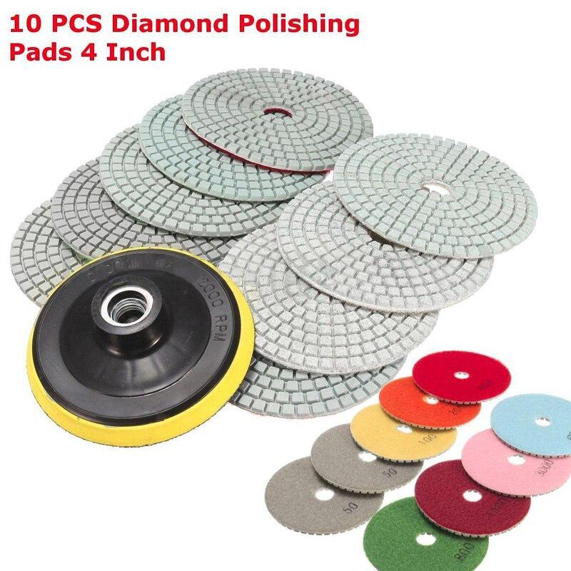10pcs 10cm Diamond Polishing Pads 4 inch Wet/Dry Set For Granite Stone Marble 4 inch diamond polishing pads 19 piece set granite marble concrete stone wet dry 2018 new arrival