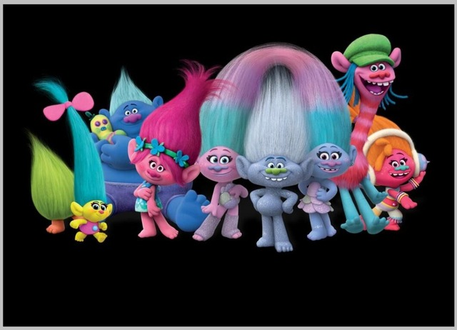 7x5FT Trolls Poppy Branch Group Black Wall Custom Photo