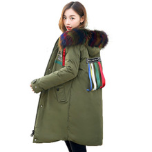 2017 Winter jacket coat women Casual Loose Warm Thicken Solid Parkas coat Big Colored Fur Collar Hooded Outwear