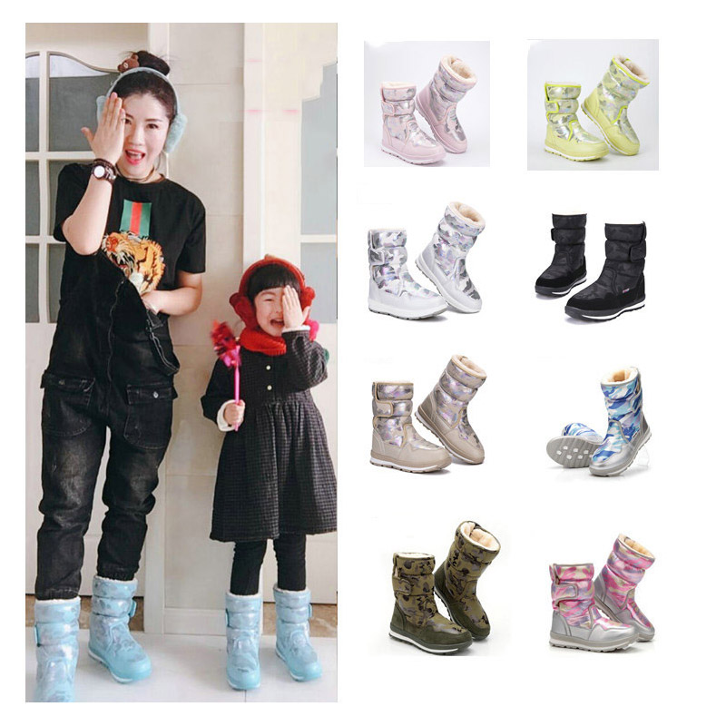 Stylish sweet lady style camouflage printed Parent-child snow boots for winter childrens shoes with feet 12 cm to 26 cm longStylish sweet lady style camouflage printed Parent-child snow boots for winter childrens shoes with feet 12 cm to 26 cm long