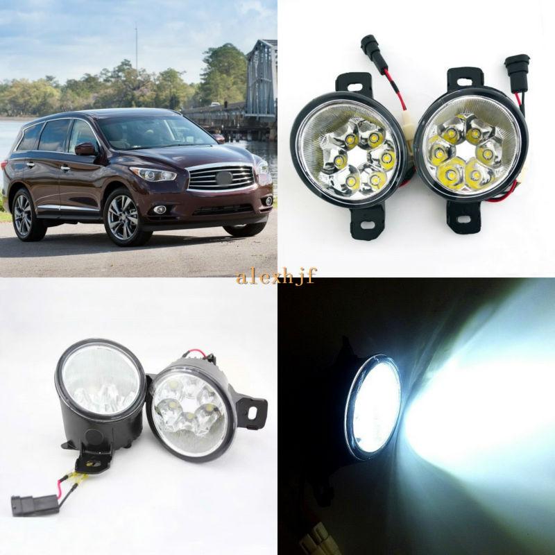 July King 18W 6LEDs H11 LED Fog Lamp Assembly Case for Infiniti JX35 QX60 2013~ON, 6500K 1260LM LED Daytime Running Lights