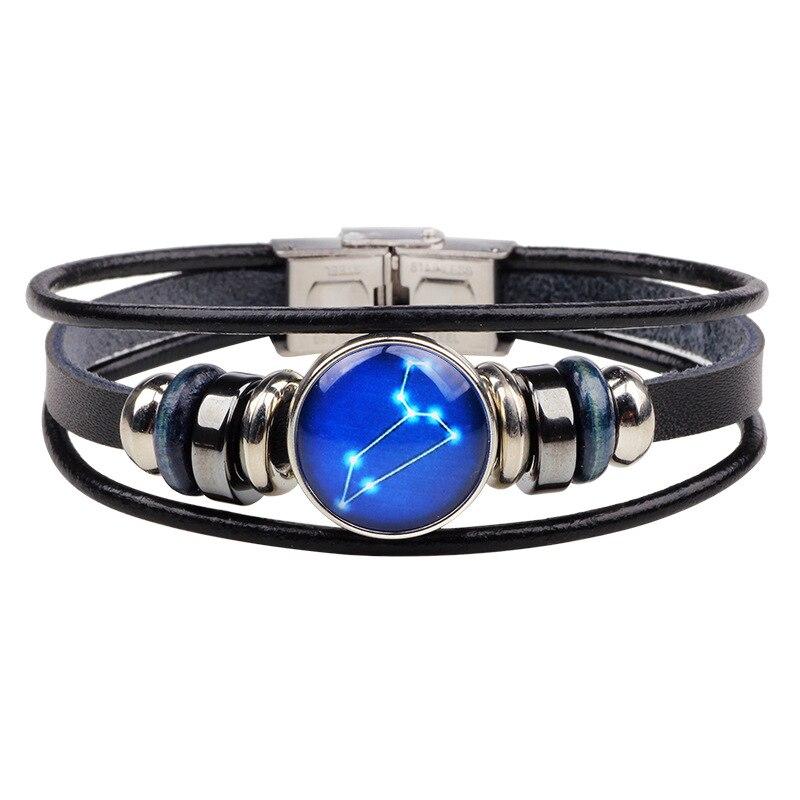 Kirykle модный кожаный браслет со знаком зодиака для мужчин и женщин