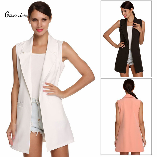 Brief Lady Waistcoat Lapel Collar Sleeveless Broadcloth Cardigan Pocket Slim Open Stitch Suit Fashion Style Summer Women Coat