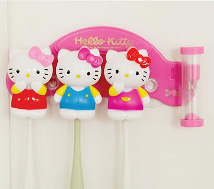 3d913c2ee4d5 3 Minutes Hourglass Time Hello Kitty Home Bathroom 3 Pcs Suction Hooks  Toothbrush Holder