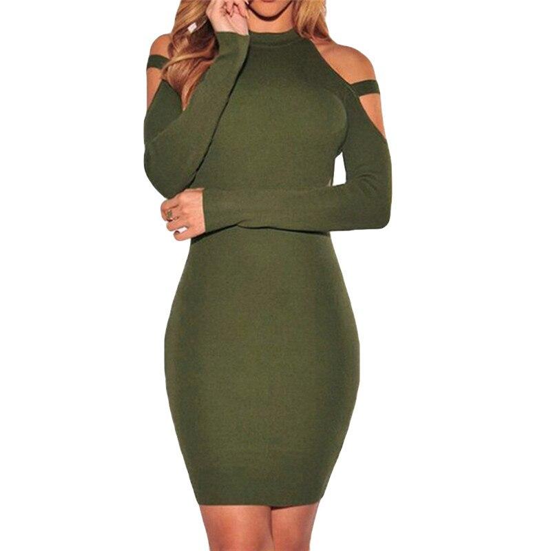 Women Fashion Solid Long Sleeve Strapless O-Neck Hip Sexy Dress Vestidos Largos De VFerano Casual Dames Jurken Robe Femme A2#