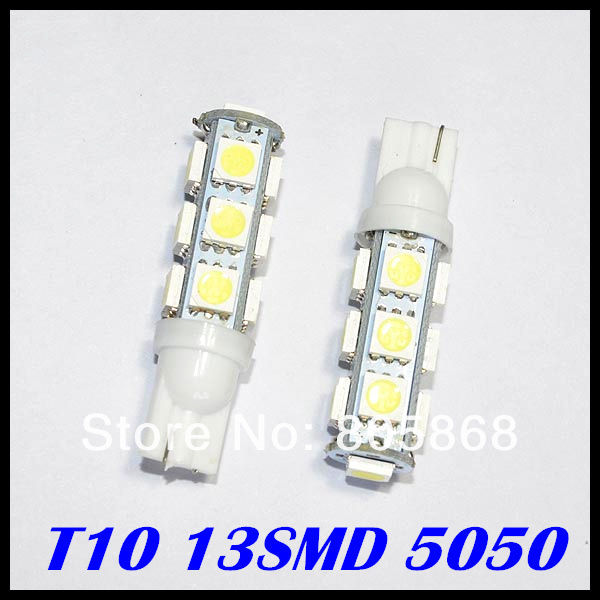 T10 13smd 5050 w5w led light W5w 13Smd Auto Car Led 5050 Light Wedge Bulb Clearance Light Parking Light Indicator Reading Lamp