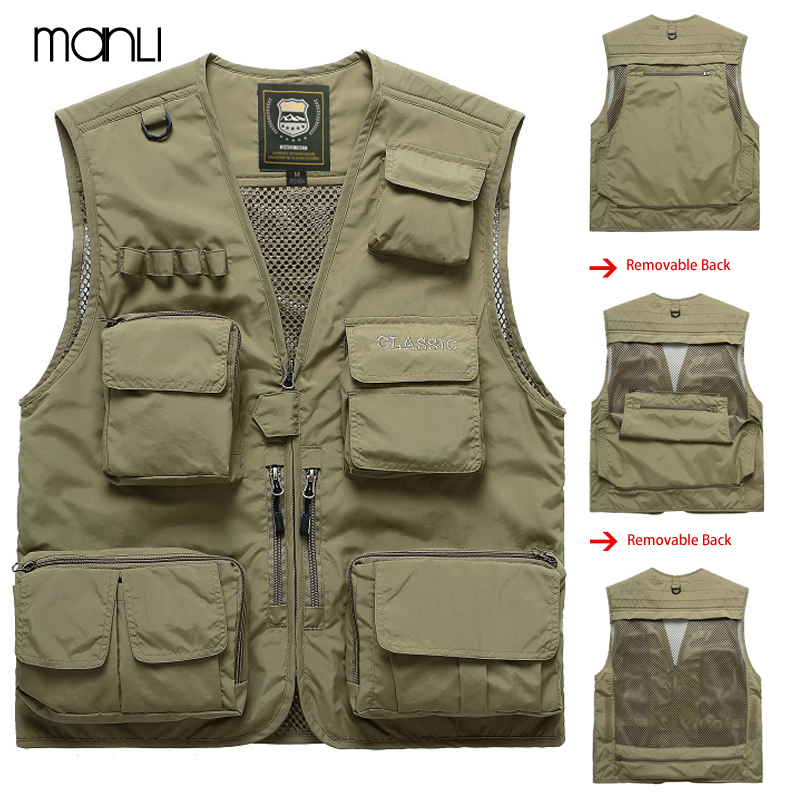MANLI Outdoor Brand Hiking Vests Waistcoat For Men Multi-pockets Unloading Dry Thin Mesh Photography Military Cargo Coats