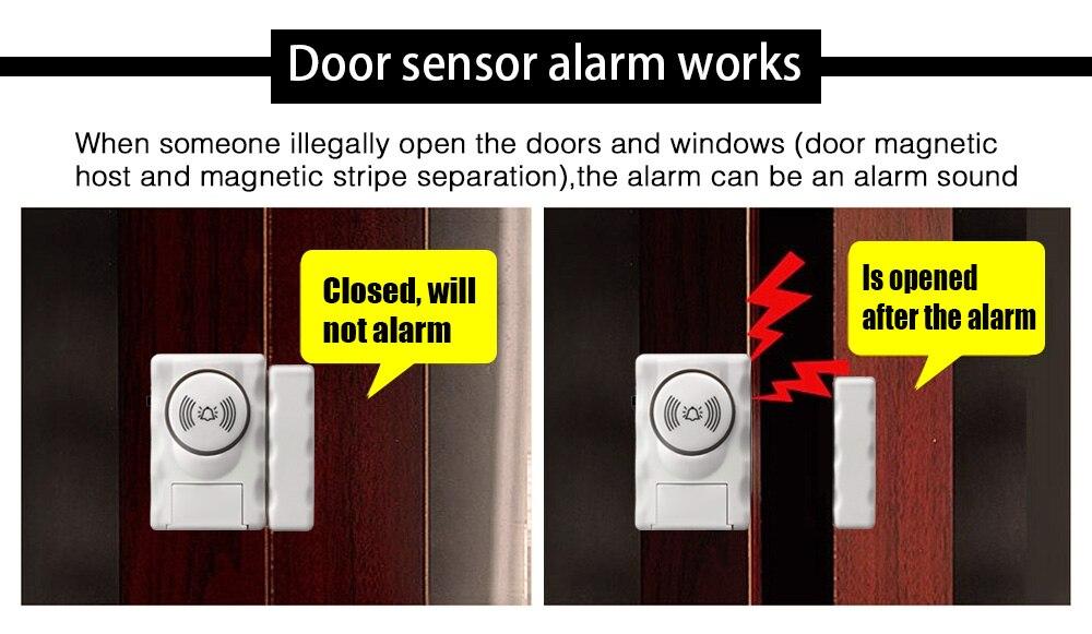 Darho Security 2Pcs110dB Wireless Window Door Burglar Security Alarm System Magnetic Sensor For Home Store Shop Security System 8