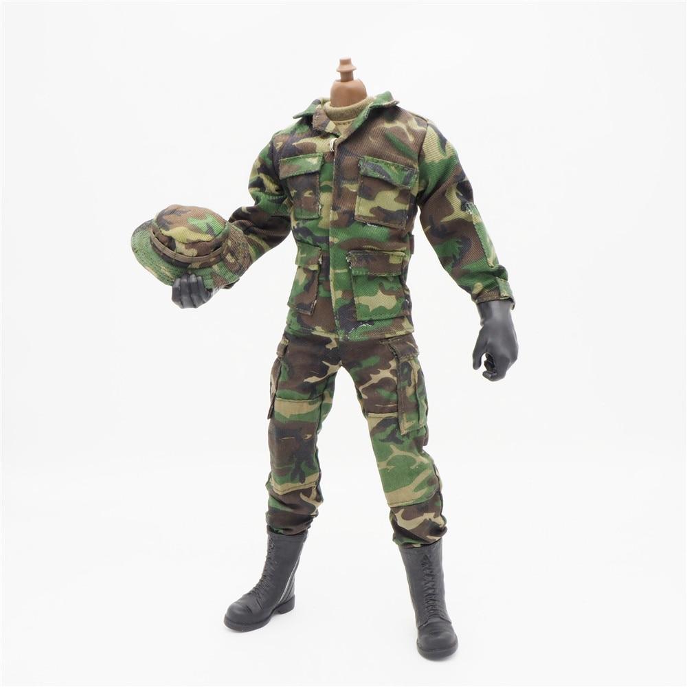Accesorios de escala 1/6 ropa de mujer verde bosque camuflaje soldado uniformes conjunto para 12 masculino militar cuerpo de figura de acción