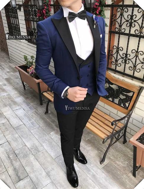 Yiwumensa chal negro de solapa hombres de Marina 2019 por encargo 3  unidades Classic boda del c3be70fe36b