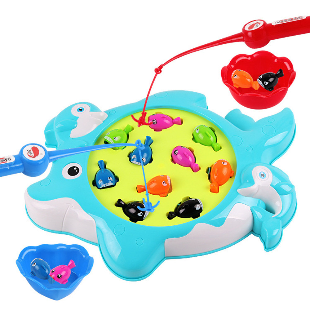 Fun Challenge Magnetic Toy Fishing Tool Automatic Music Fish Game Toy For Kids p# dropship