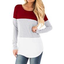 2019 nowe kobiety Mama ciężarna Odzież bluzka ropa de mujer koszula macierzyństwa karmiące ciążowe długi rękaw paski koszulki clothe jurk tanie tanio Maternity Szczyty Tees Pełne Poliester O-Neck Breastfeeding Vest T-Shirt W MUQGEW Regularne Naturalny kolor Sukno Nursing T-Shirt