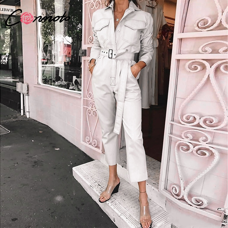 Conmoto 2019 Winter Casual White Cotton Long Sleeve Jumpsuit Women Fashion Button Jumpsuit High Waist Belt Long Overalls