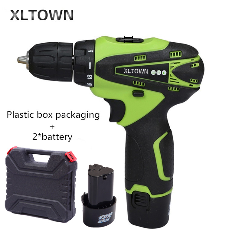 Xltown 12v two-speed rechargeable lithium battery electric screwdriver with 2 *battery and a plastic box  Electric screwdriver 2000mah rechargeable lithium battery pack for nds lite with screwdriver