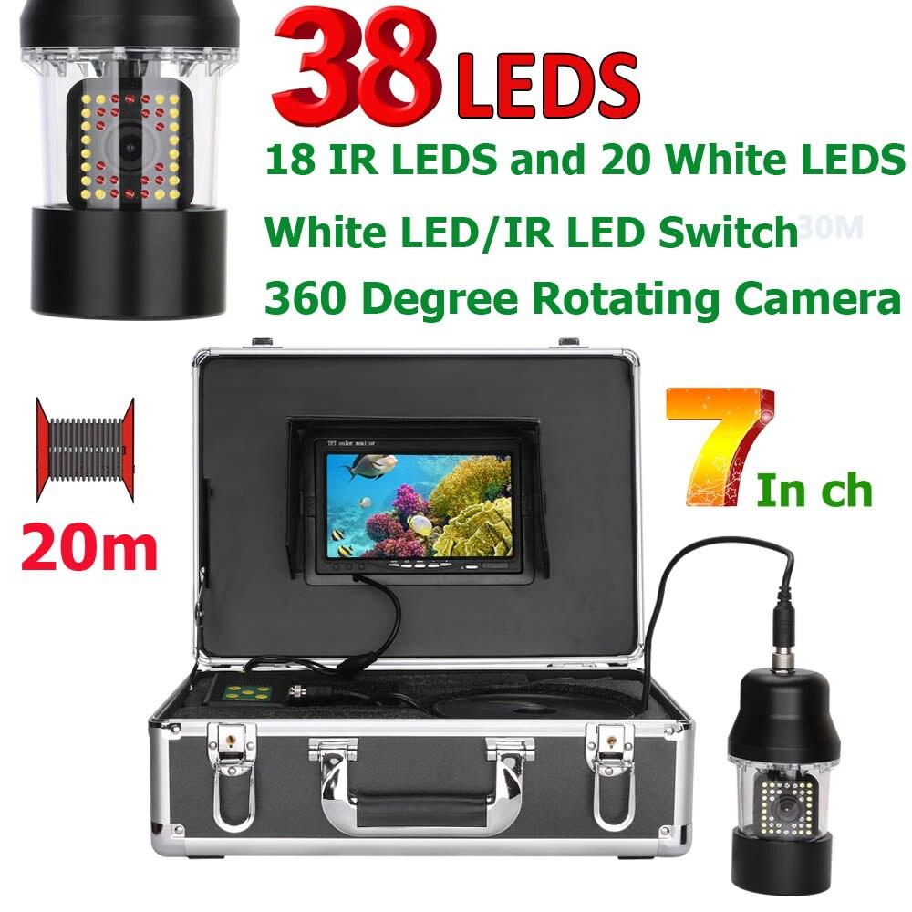 PDDHKK 7 pouces LCD Couleur Vidéo Étanche Caméra Sous-Marine Avec 20 pièces Blanc LEDs 18 pièces Lampes Infrarouges 360 Degrés Caméra Rotative