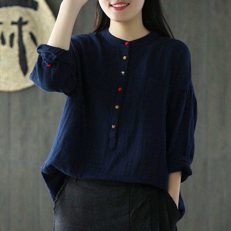 Mferlier femmes Blouses col montant couleur unie poche boutons colorés Vintage bleu marine blanc rose hiver coton dames Blouse