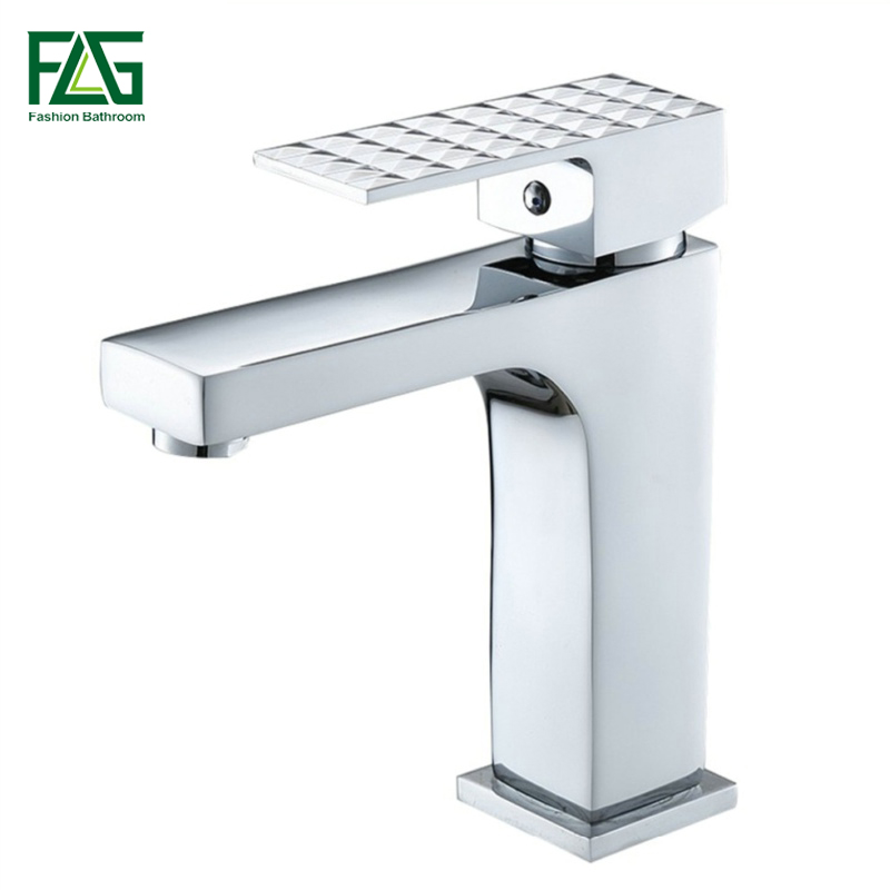 FLG Chrome Brass Basin faucets Deck Mounted  Cold and Hot Water Square Bathroom Faucet Bath Sink Faucet Spool Tap 100012FLG Chrome Brass Basin faucets Deck Mounted  Cold and Hot Water Square Bathroom Faucet Bath Sink Faucet Spool Tap 100012