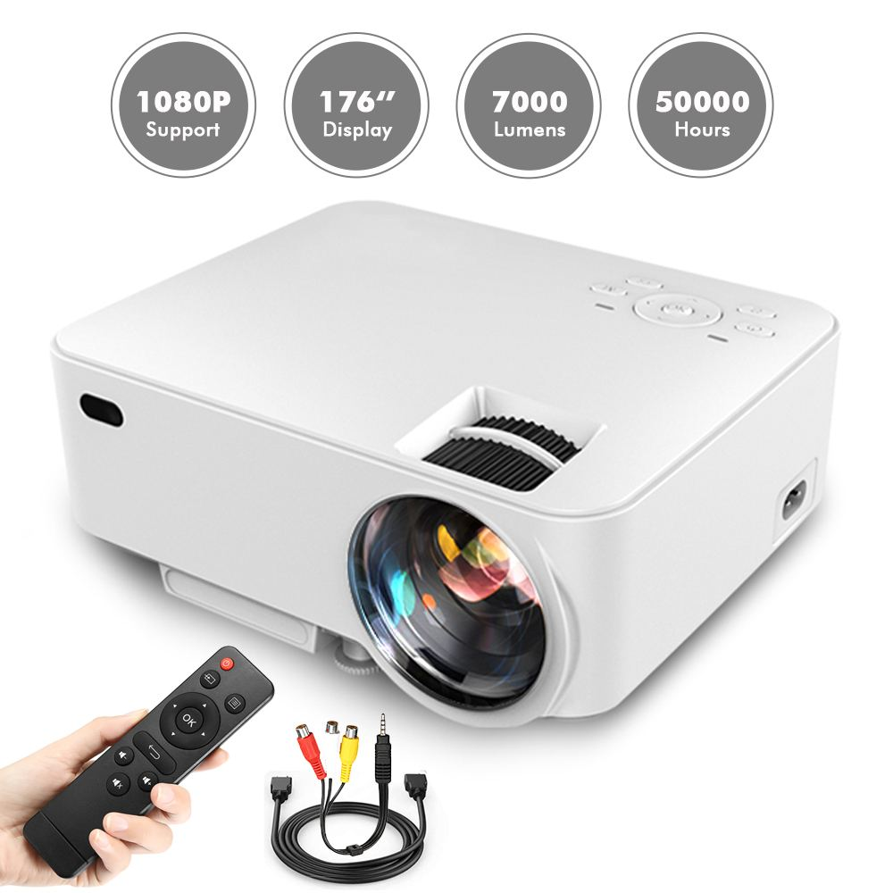 7000LM 176 Home Mini LED Projector+HDMI/AV Cable 1080P Movie Video Projector for USB SD VGA TV Laptop Game Quiet7000LM 176 Home Mini LED Projector+HDMI/AV Cable 1080P Movie Video Projector for USB SD VGA TV Laptop Game Quiet