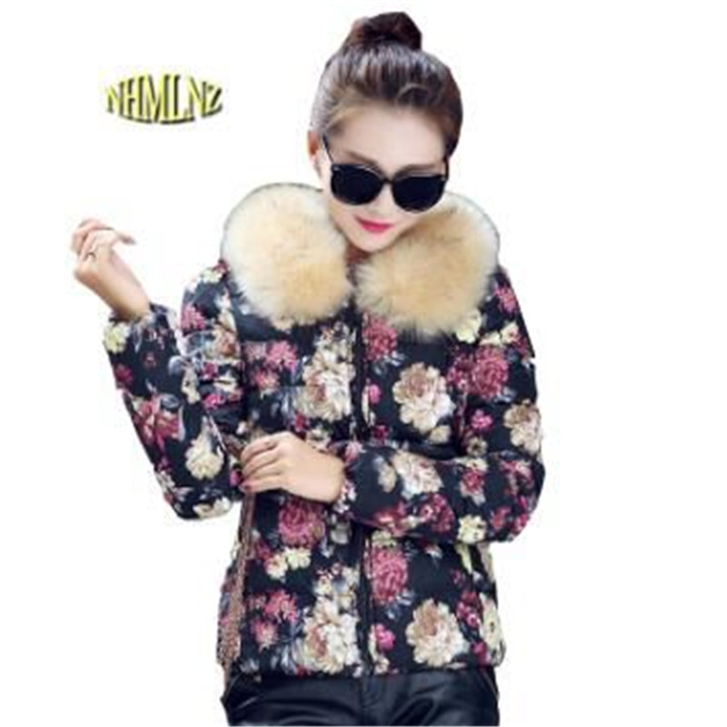Winter Cotton Coat New Fashion Women Elegant Printing Jacket Thick Warm Fur collar Down jacket Large size Slim Women Coat G2733 цены онлайн