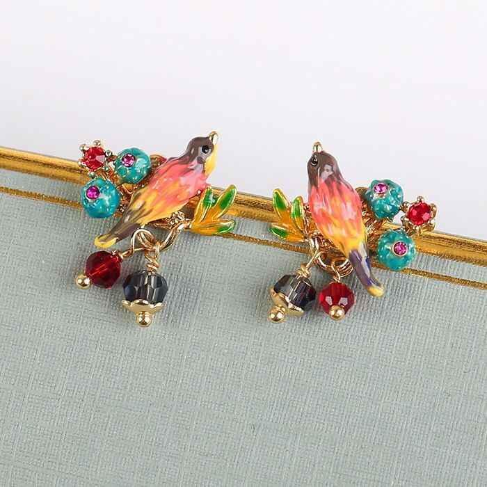 2018 Amybaby projektant mody kolorowe ptak kaktus kwiat kobiet stadniny kolczyk szkliwa glazury biżuteria na imprezę