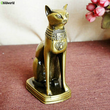 Miniaturas Metal alloy crafts decorations  Electroplated retro Egyptian cat ornaments vintage home decor