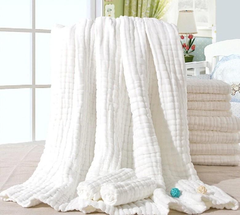 Ev ve Bahçe'ten Şal'de 8 kat kırışık pamuklu gazlı bez battaniye % 100% pamuk beyaz renk 110x110 cm bebek battaniye 360 gram 100 adet custmoize title=