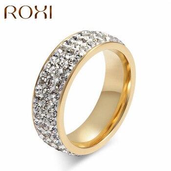 8f153629090b Romad Meaeguet brillante la pavimentada anillo de cristal de oro de acero  inoxidable de color piedra