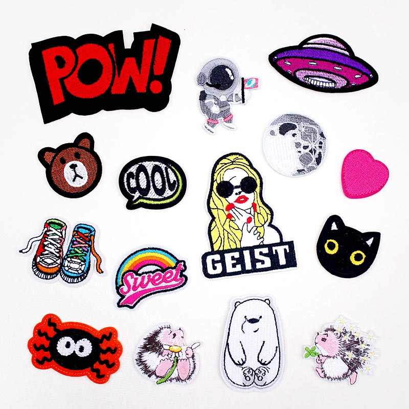 SHOE POW COOL DIY Iron On Patch Embroidered Applique Sewing Clothes Stickers Garment Apparel Accessories