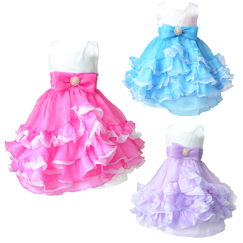 Princess Girl Dress Summer Tutu Wedding Birthday Party Wear Dresses ...