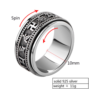 Image 2 - ZABRA Real 925 Sterling Silver Spinner Ring Vintage Six Words Mantra Mens Signet Rings Punk Jewelry For Men