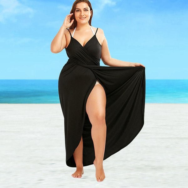 2018 New Plus Size Beach Cover Up Wrap Dress Bikini Swimsuit Bathing Suit Cover Ups Robe De Plage Beach Wear Large Size Swimwear maxi plus size flounce wrap beach dress
