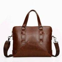2017 Autumn Fashion Men S Briefcase High Quality Crazy Horse PU Retro Men Handbag Shoulder Bag
